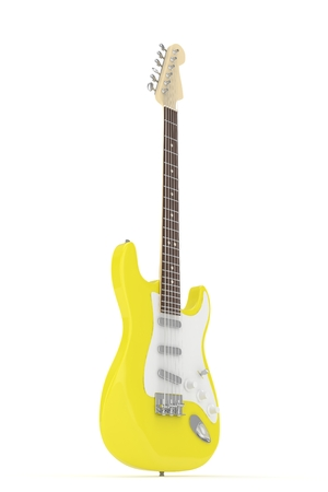 truss: Isolated yellow electric guitar on white background. 3D rendering.