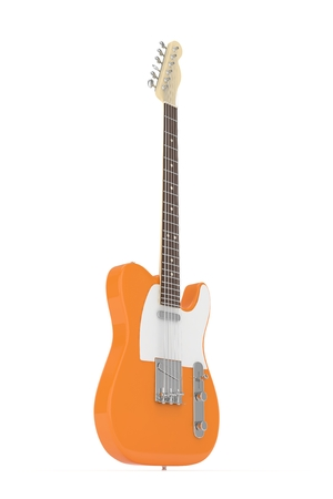 indie: Isolated orange electric guitar on white background. 3D rendering. Stock Photo