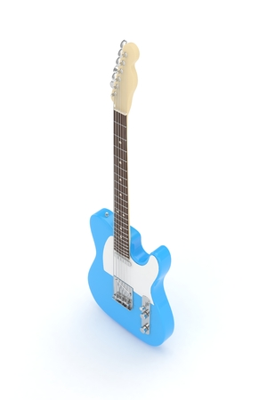 electric blue: Isolated blue electric guitar on white background.  3D rendering.