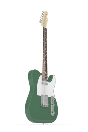 truss: Isolated green electric guitar on white background. 3D rendering.