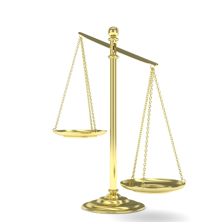 value system: Isolated white golden scales on white background. Symbol of judgement. Law, measurement, liberty in one concept. 3D rendering.