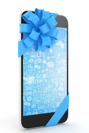 blue bow: Black phone with blue bow and blue screen. 3D rendering.