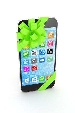 green bow: Black phone with green bow and icons. 3D rendering. Stock Photo