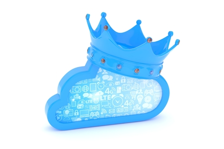 broadband: Isolated blue cloud icon with crown and gems on white background. Symbol of communication, network and technology. Broadband. Online database. 3D rendering.