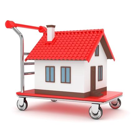 bogie: Model of house on wheeled platform on white background. Concept of property moving, delivering. 3D rendering.