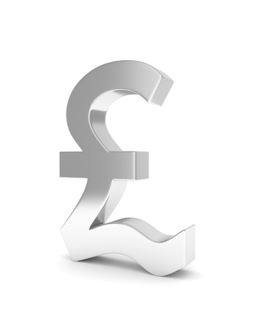 british currency: Isolated silver pound sign on white background. British currency. Concept of investment, european market, savings. Power, luxury and wealth. Great Britain, Nothern Ireland. 3D rendering.