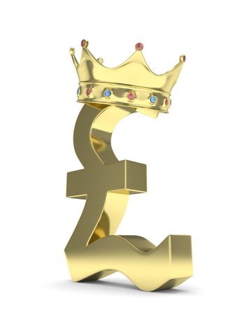 british currency: Isolated golden pound sign with crown on white background. British currency. Concept of investment, european market, savings. Power, luxury and wealth. Great Britain, Nothern Ireland.  Crown with gems. 3D rendering.