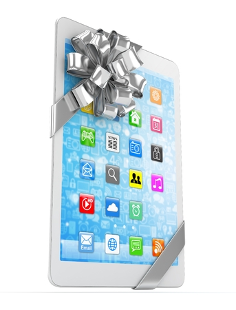 White tablet with silver bow and icons. 3D rendering.