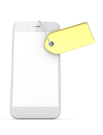 is expensive: White smart phone with golden price tag on white background. Identification, price, label. Luxury and expensive offer. 3D rendering.