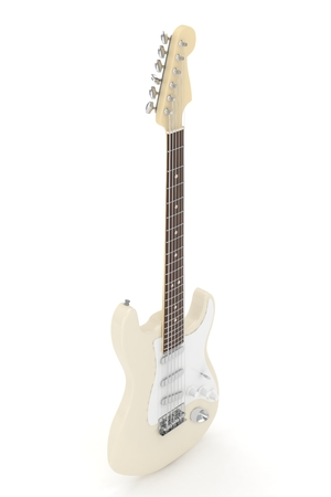 blues: Isolated beige electric guitar on white background.  Musical instrument for rock, blues, metal songs. 3D rendering. Stock Photo