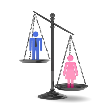 sex positions: Isolated old fashioned pan scale with man and woman on white background. Gender inequality. Female is heavier. Law issues. Colorful model. 3D rendering. Stock Photo