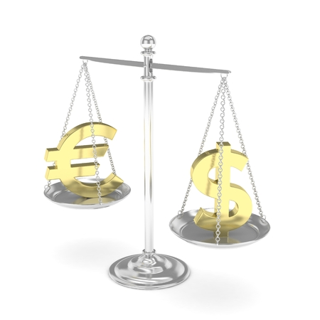 stability: Isolated silver scales with golden dollar and euro currency. American and european finance. Measuring of market stability. 3D rendering.