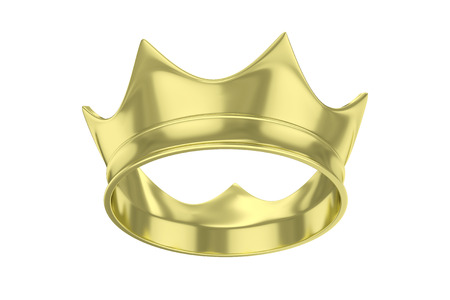 monarchy: Simple golden royal crown on white. 3D rendering.