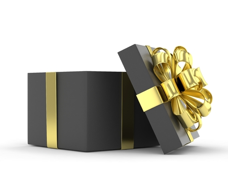 open box: open gift box with bows isolated on white. 3d rendering.