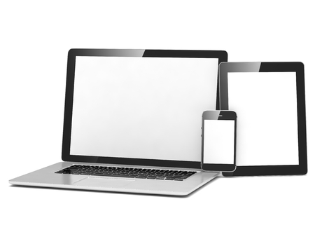 pda: laptop, tablet, phone on white. 3d rendering.