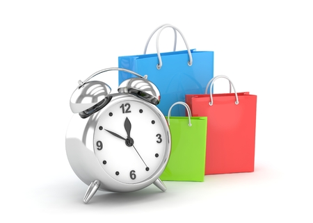 buy time: alarm clock and shopping bags (time to buy concept). 3d rendering. Stock Photo