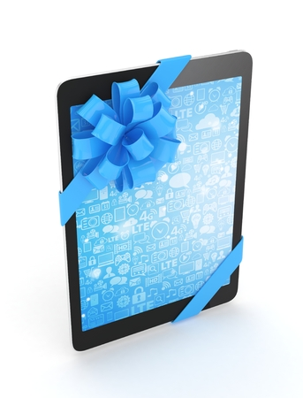 blue bow: Black tablet with blue bow and blue screen. 3D rendering.