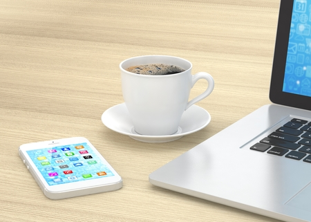 laptop mobile: Laptop smartphone and coffee cup on wood. 3d rendering.