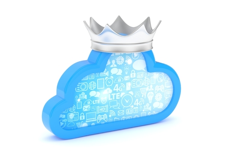 broadband: Isolated blue cloud icon with silver crown on white background. Symbol of communication, network and technology. Broadband. Online database. 3D rendering. Stock Photo