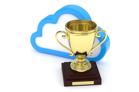 contest: Isoalted golden cup with cloud on white background. Blue contour cloud. Concept of cloud storage competition. Leader cloud drive. Best storage contest. 3D rendering.