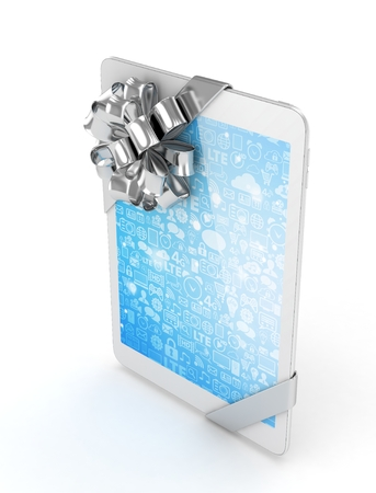 moble: White tablet with silver bow. 3D rendering. Stock Photo