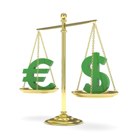 stability: Isolated golden scales with green dollar and euro currency. American and european finance. Measuring of market stability. 3D rendering.