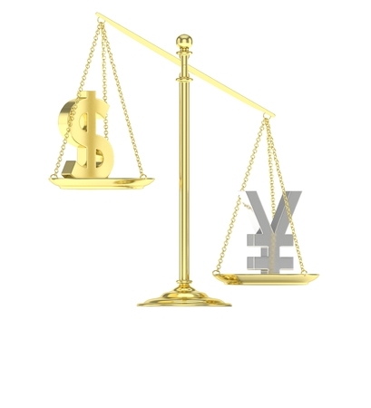 chinese american: Isolated old fashioned pan scale with dollar and yuan,yen on white background. American and chinese and japanese currency. Yuan is heavier. Silver yuan, golden usd. 3D rendering.