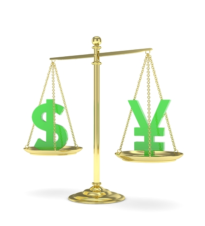 japanese currency: Isolated old fashioned pan scale with dollar and yuan,yen on white background. American and chinese and japanese currency. Currency equality. Green money. 3D rendering. Stock Photo