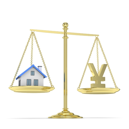 assess: Isolated golden scales with golden yuan and house on white background. Investment or savings concept. Real estate and currency. 3D rendering.