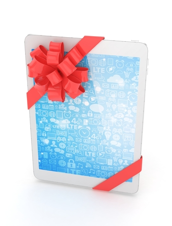 moble: White tablet with red bow and blue screen. 3D rendering.