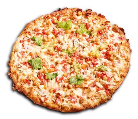 ingridients: Isolated fresh pizza on white background. Delicious healthy snack with fresh vegetables and cheese. Hot meal with many ingridients. Unhealthy junk food. Street food. Italian cuisine.