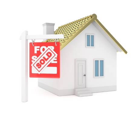 real estate sold: Isolated model of house with sign for sale sold. Concept of real estate, new apartment and moving to a new house. Golden roof. 3D rendering.