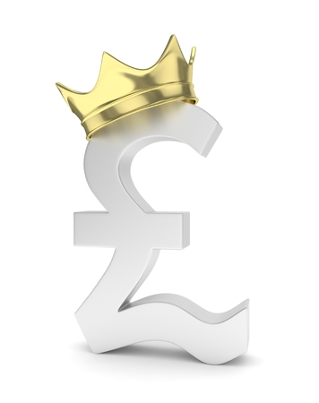 nothern ireland: Isolated silver pound sign with golden crown on white background. British currency. Concept of investment, european market, savings. Power, luxury and wealth. Great Britain, Nothern Ireland. 3D rendering.