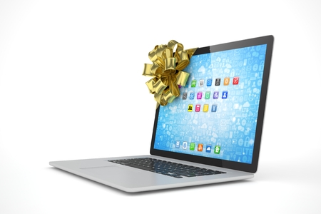 tied: Tied laptop with golden bow on white background. Modern present or gift for birthday, holiday, christmas. 3D rendering. Stock Photo