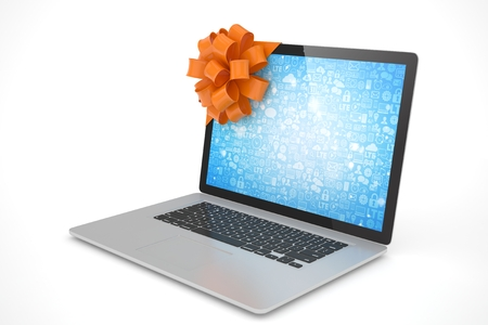 tied: Tied laptop with red bow on white background. Modern present or gift for birthday, holiday, christmas. 3D rendering.