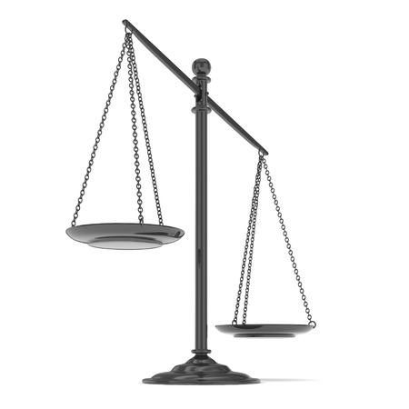 judgement: Isolated black scales on white background. Symbol of judgement. Law, measurement, liberty in one concept. 3D rendering.