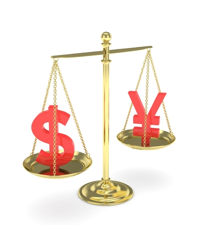 japanese yen: Isolated old fashioned pan scale with dollar and yuan,yen on white background. American and chinese and japanese currency. Currency equality. red money. 3D rendering.