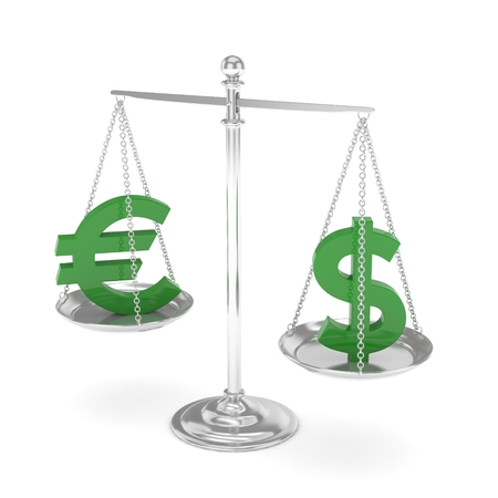 stability: Isolated silver scales with green dollar and euro currency. American and european finance. Measuring of market stability. 3D rendering.