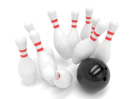 skittles: Bowling ball and skittles isolated. 3d rendering.