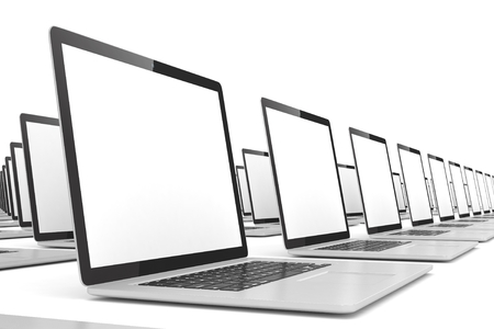 computer screens: many  laptop on white background. 3d rendering.