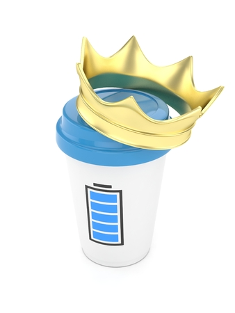 energize: Coffee cup with  golden crown and battery on white background. 3D rendering.
