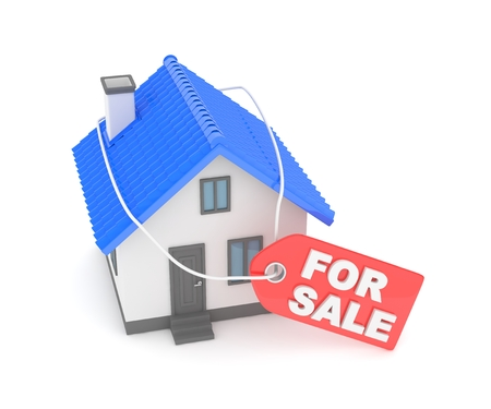 family moving house: Model of house with label for sale on white background. 3D rendering.