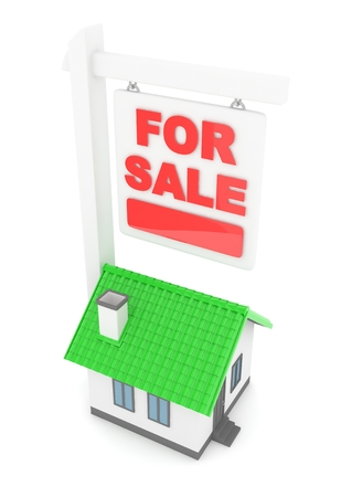 first house: Isolated model of house with for sale sign on white background. 3D rendering. Stock Photo