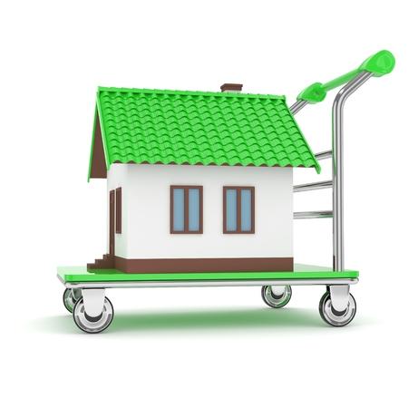 wheeled: Model of house on wheeled platform on white background. 3D rendering.