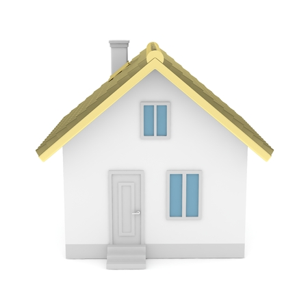 simple house: White simple house with golden roof on white background. 3D rendering.
