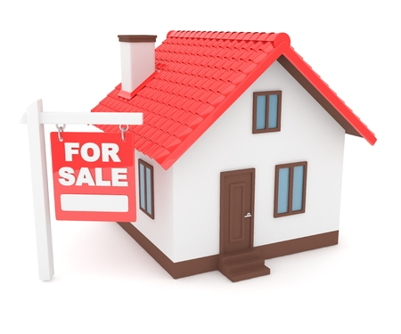 landlord: Miniature model of house real estate for sale on white background. 3D rendering.