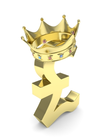 pound sign: Isolated golden pound sign with crown on white background. 3D rendering.