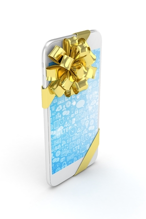 blue screen: White phone with golden bow and blue screen. 3D rendering.