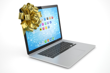 tied: Tied laptop with golden bow on white background. 3D rendering.