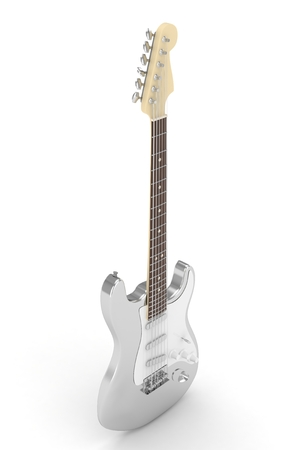 truss: Isolated silver electric guitar on white background. 3D rendering.